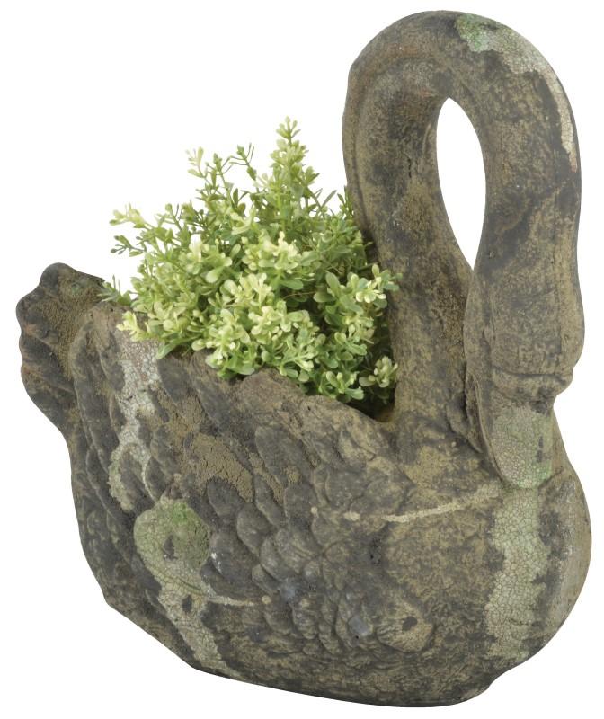 Aged Terracotta Swan Planter